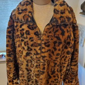 Vintage Faux fur teddy leopard jacket
